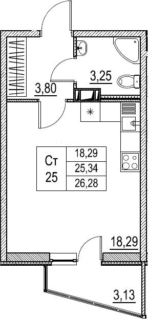 Студия, 26.28 м²– 2