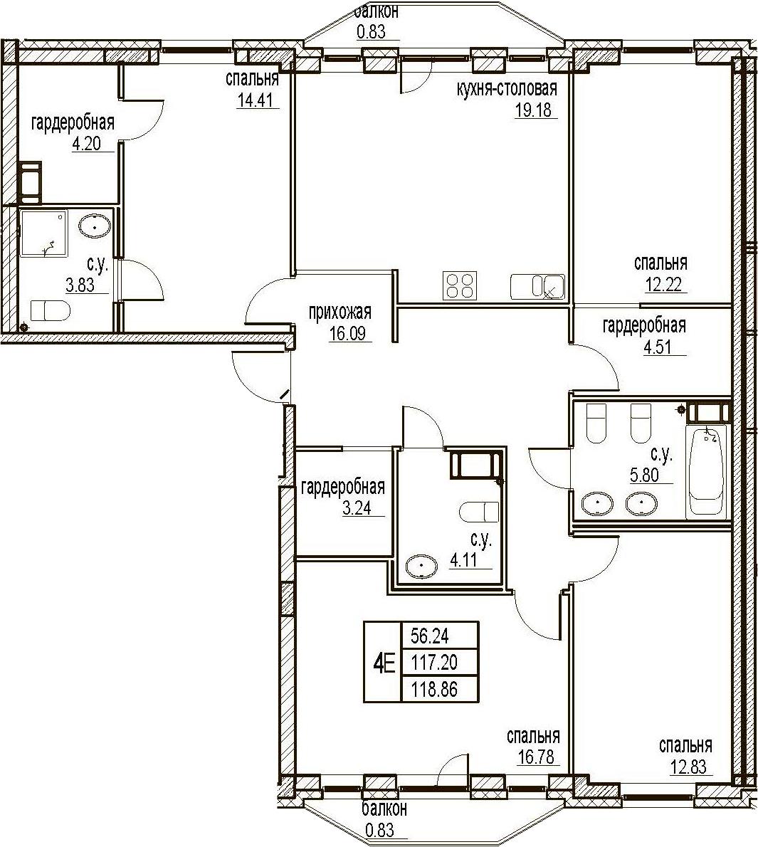 5Е-комнатная, 118.86 м²– 2