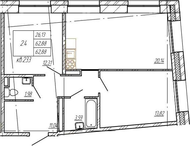 3Е-комнатная, 62.88 м²– 2