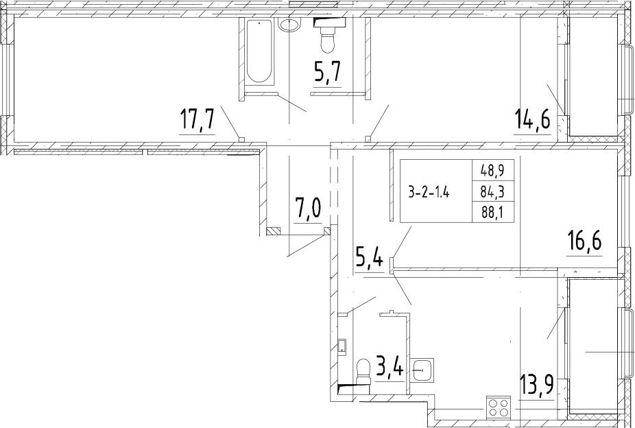 3-к.кв, 88.1 м²