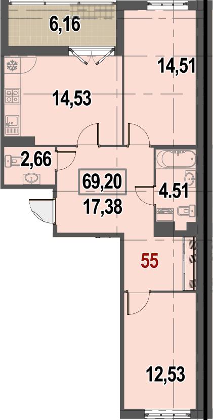 2-комнатная, 69.2 м²– 2