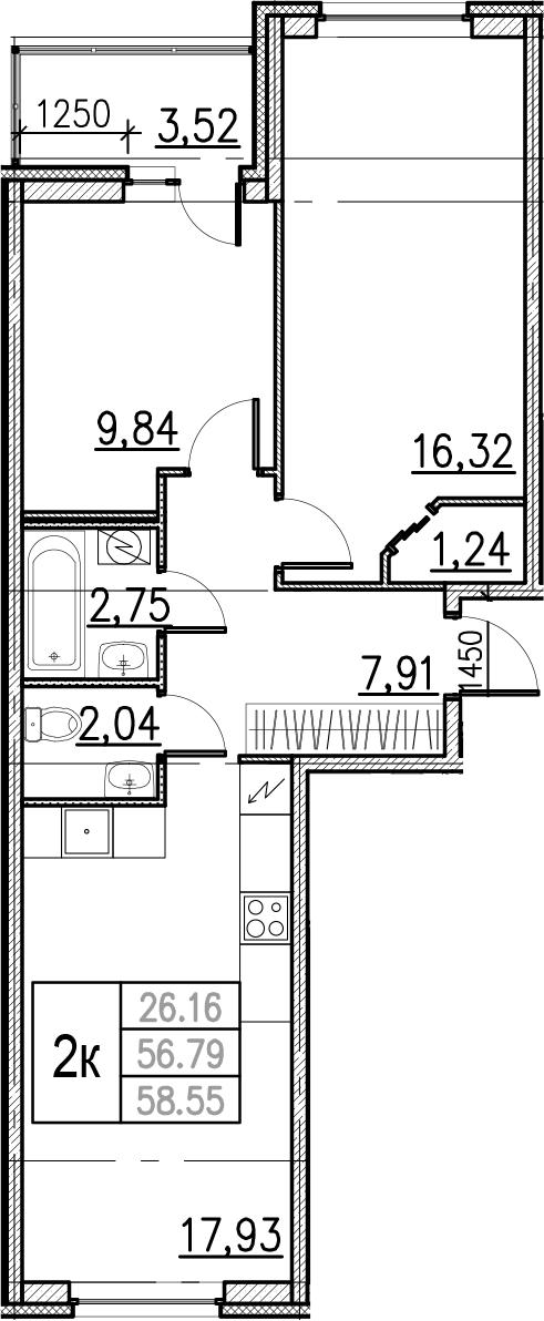 3Е-комнатная, 58.55 м²– 2