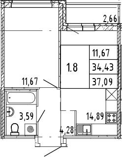 2Е-комнатная квартира, 35.76 м², 7 этаж – Планировка