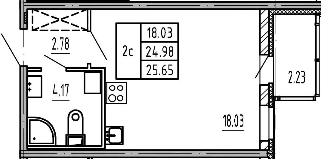 Студия, 27.21 м²