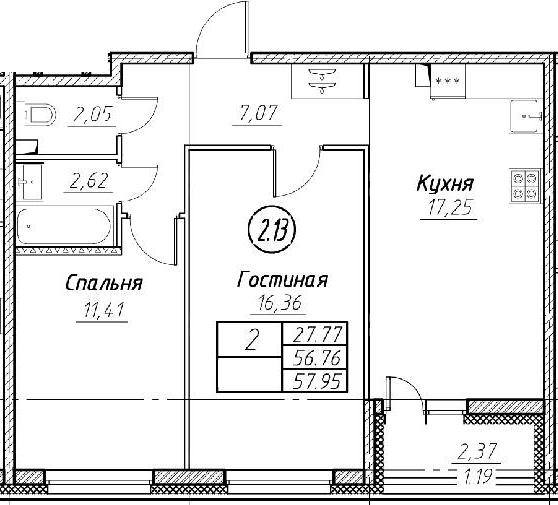 3Е-к.кв, 57.95 м²