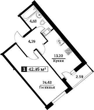 1-к.кв, 42.95 м²