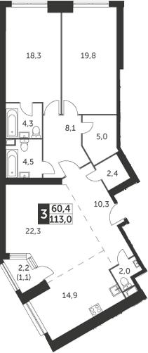 3-комнатная, 113 м²– 2