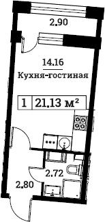 Студия, 21.13 м²