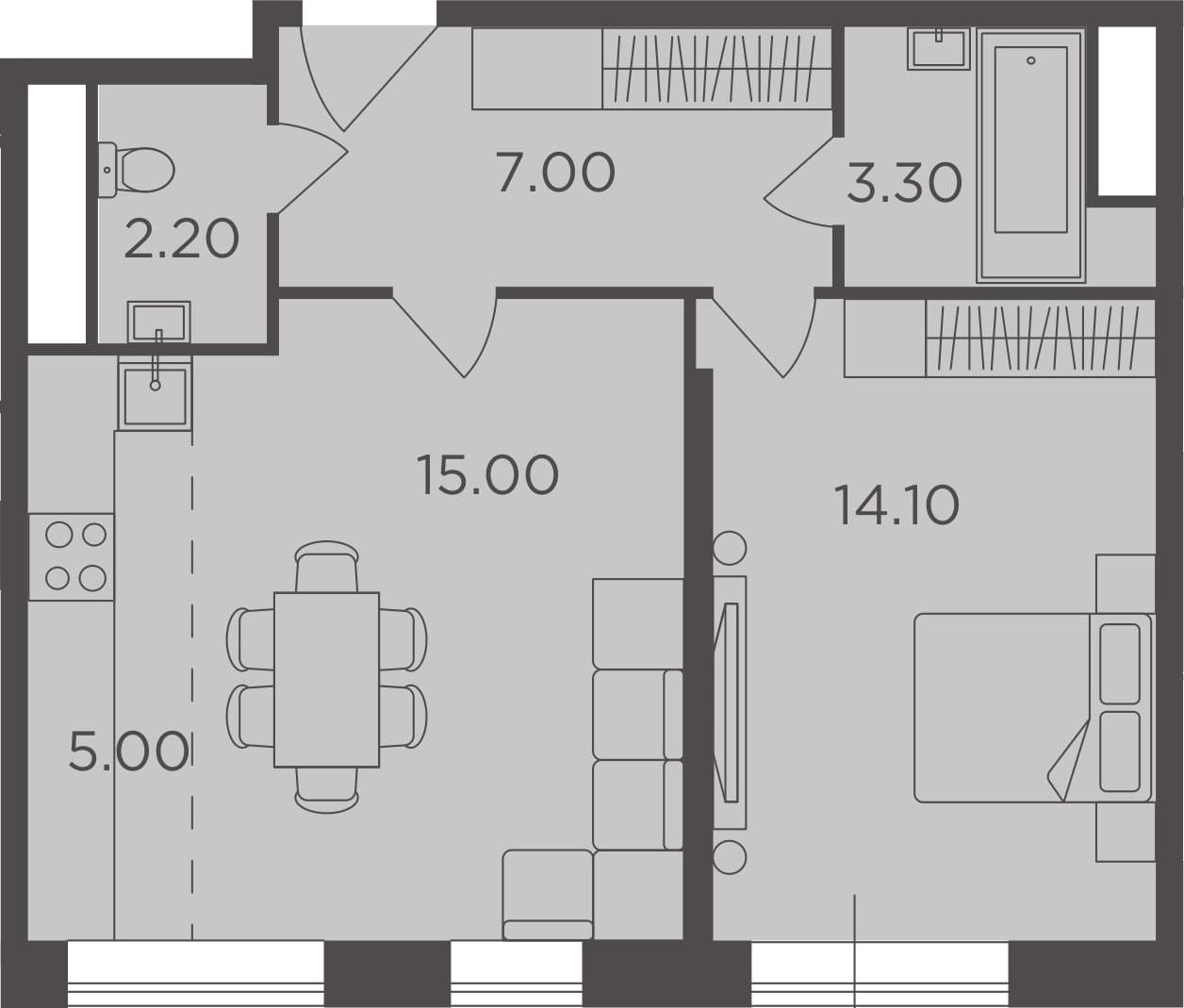 2Е-к.кв, 46.6 м²
