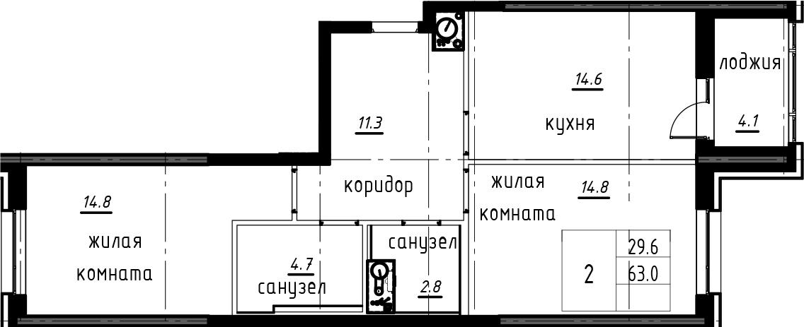 2-к.кв, 67.1 м²