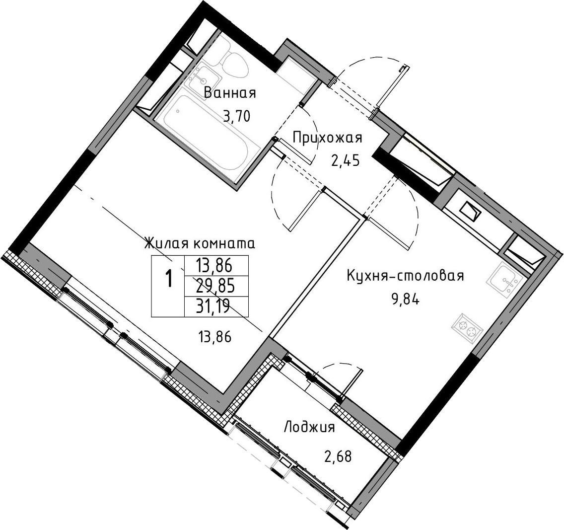 1-к.кв, 32.53 м²