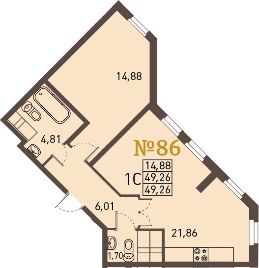 2-к.кв (евро), 49.26 м²