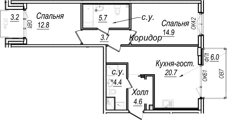 3Е-к.кв, 70.2 м², 7 этаж