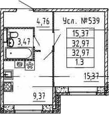 1-комнатная, 32.97 м²– 2