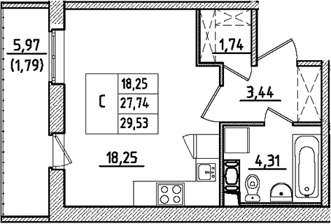 Студия, 29.53 м²