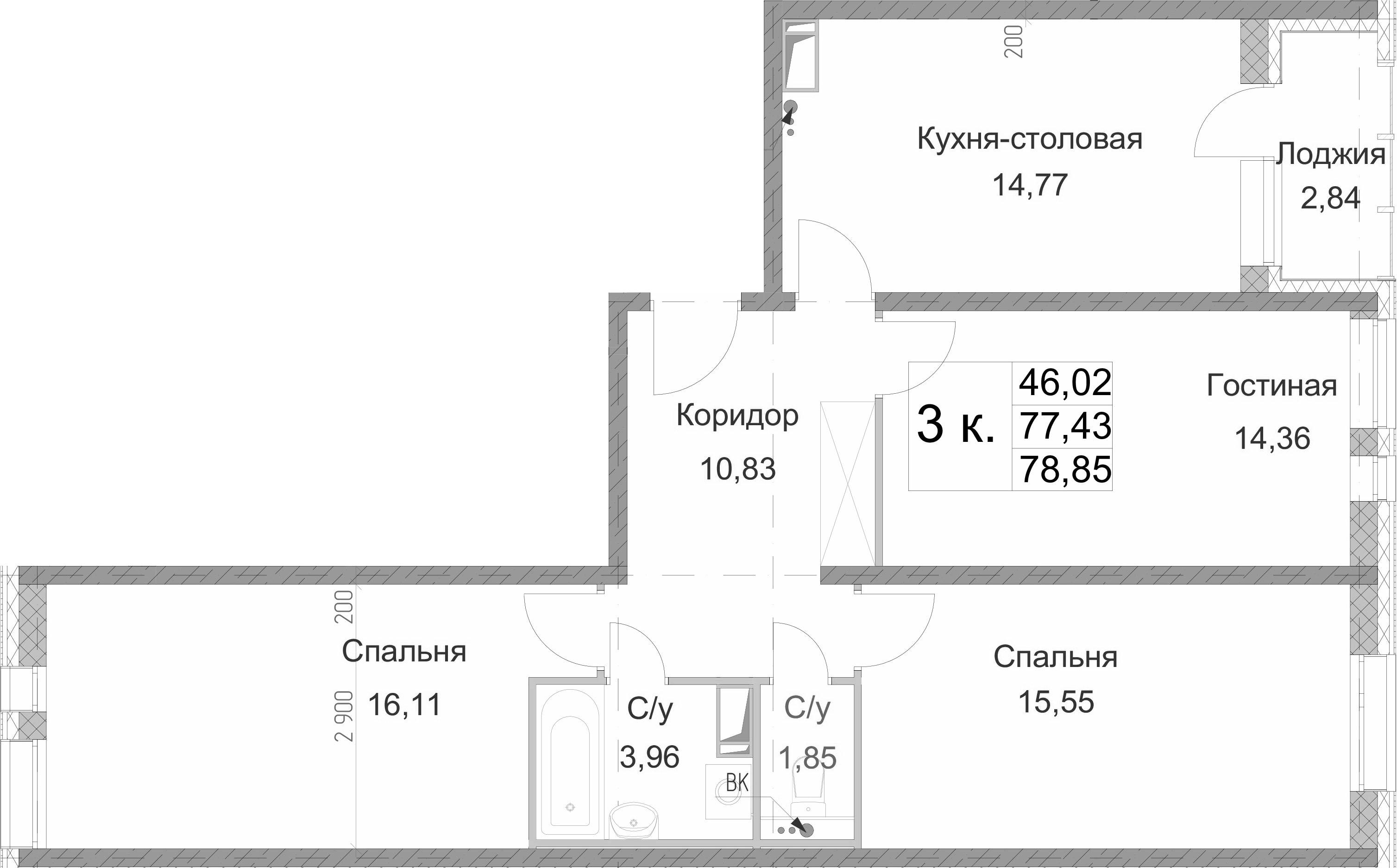 3-к.кв, 80.27 м²