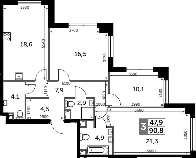 3-к.кв, 90.8 м²
