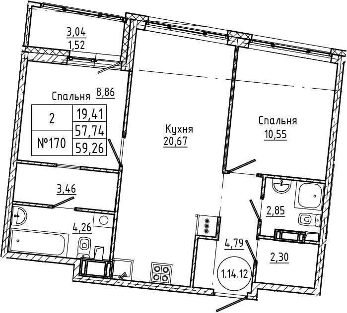 3Е-комнатная, 59.26 м²– 2
