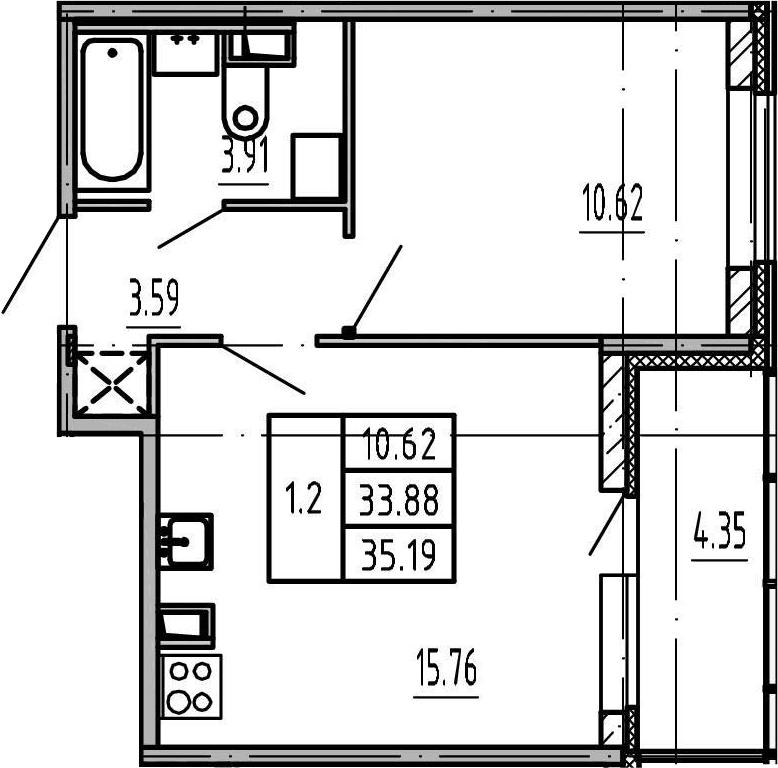2-к.кв (евро), 38.23 м²