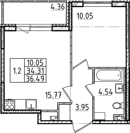 2Е-к.кв, 34.31 м²