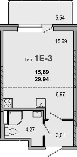 Студия, 29.94 м²
