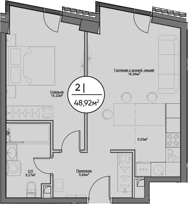 2Е-к.кв, 48.92 м²
