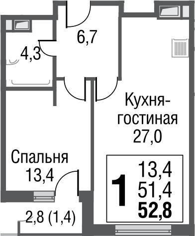 2-к.кв (евро), 54.2 м²