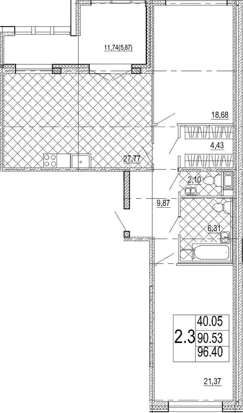 3Е-комнатная, 96.4 м²– 2