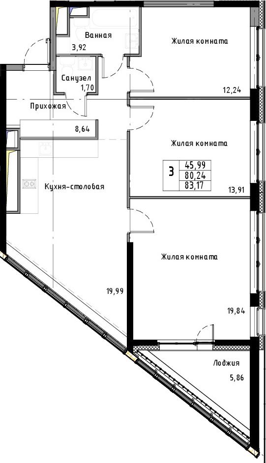 4Е-к.кв, 83.17 м²