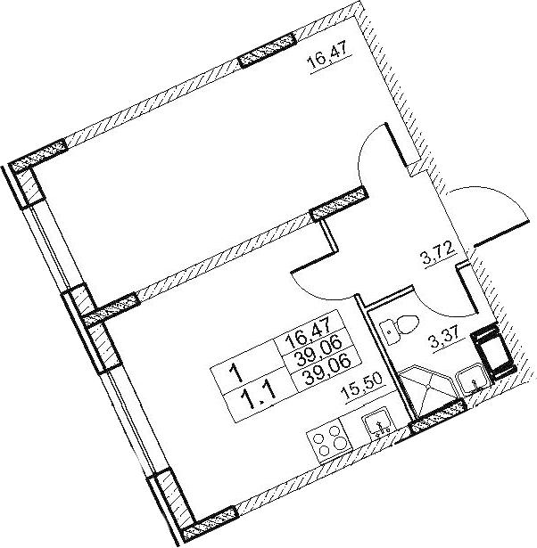 2Е-к.кв, 39.06 м², 1 этаж