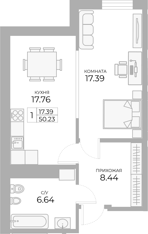 1-к.кв, 50.22 м²