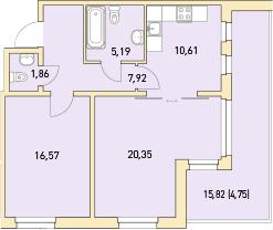 2-к.кв, 67.25 м²