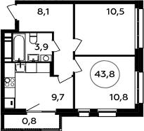 2-комнатная, 43.8 м²– 2