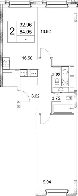 2-комнатная, 64.05 м²– 2
