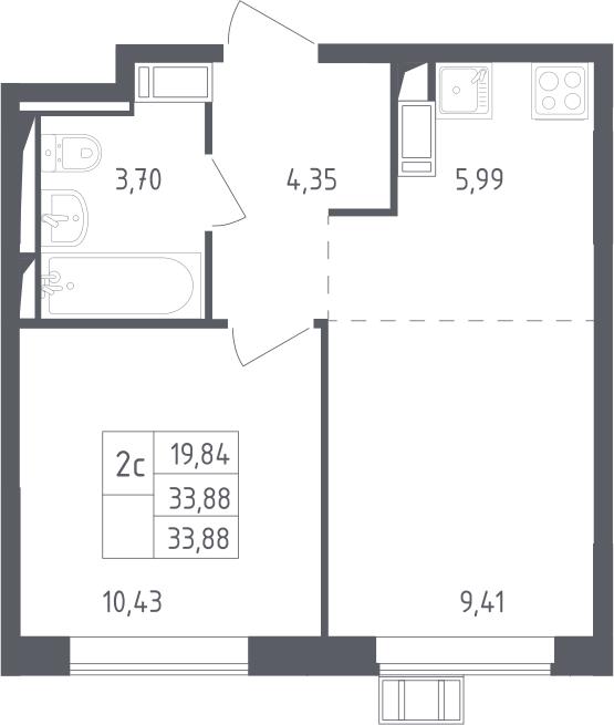 2Е-к.кв, 33.88 м², от 14 этажа