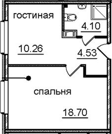 1-к.кв, 37.59 м², от 11 этажа