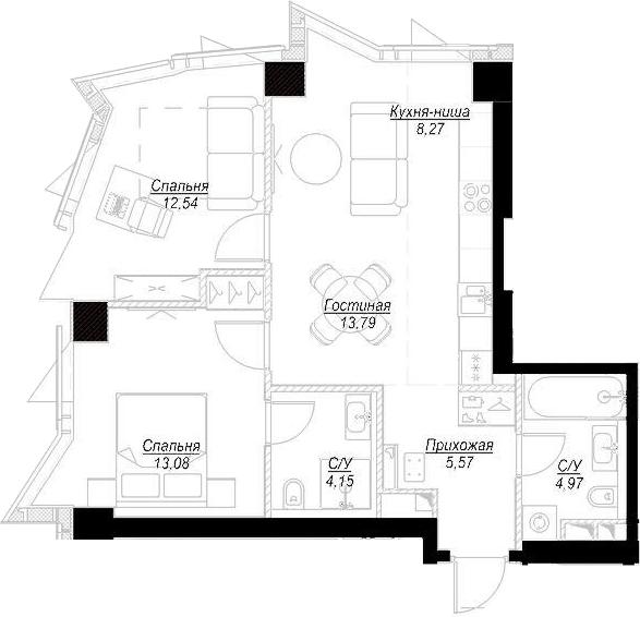 3Е-комнатная, 62.3 м²– 2