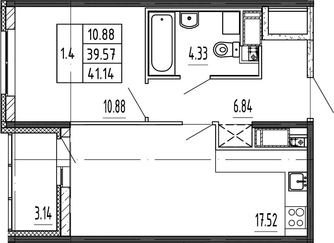 2Е-к.кв, 39.57 м², 24 этаж