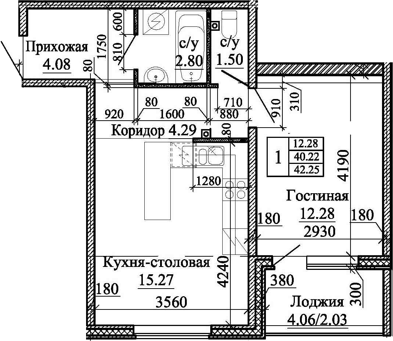 2Е-к.кв, 42.25 м²