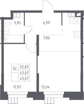 2Е-к.кв, 43.67 м², 4 этаж