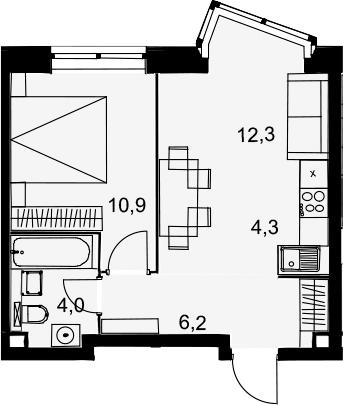 2Е-к.кв, 37.7 м², 2 этаж