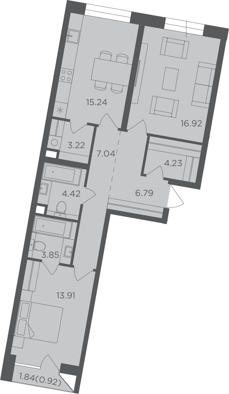 2-комнатная, 76.54 м²– 2