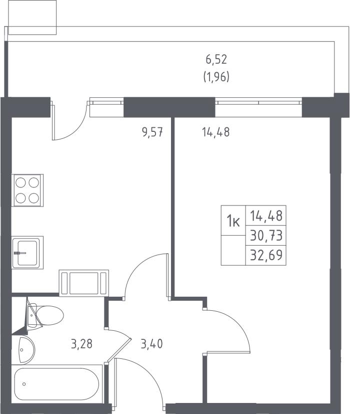 1-к.кв, 32.69 м², 15 этаж