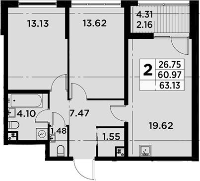 3Е-комнатная, 63.13 м²– 2
