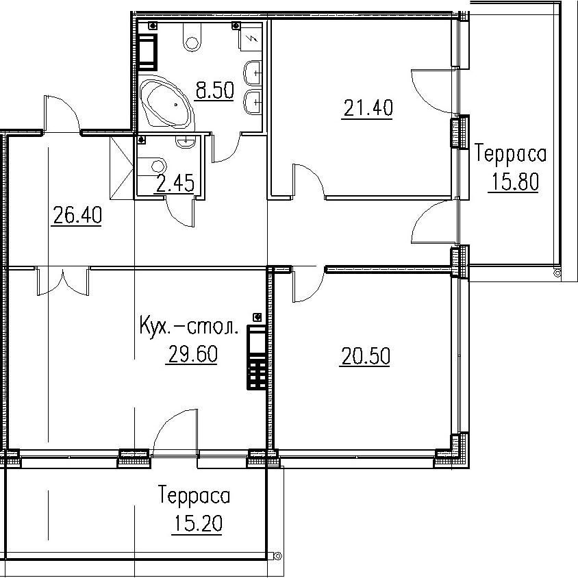 3Е-комнатная, 108.85 м²– 2