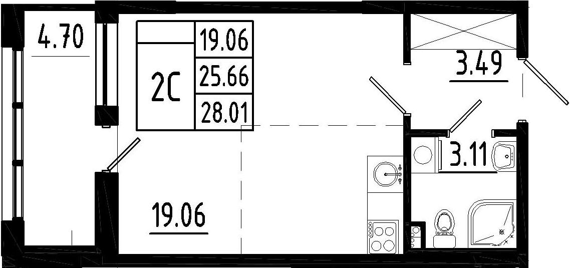 Студия, 30.6 м²