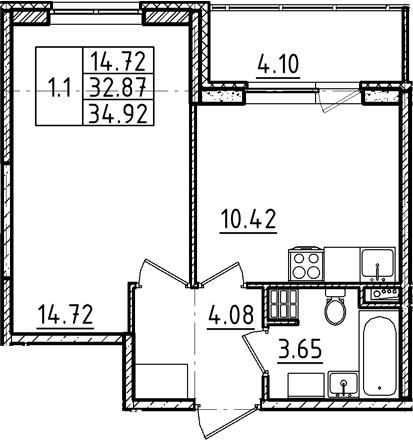 1-к.кв, 34.92 м², 4 этаж