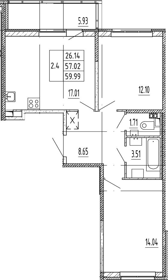 3Е-комнатная, 57.02 м²– 2