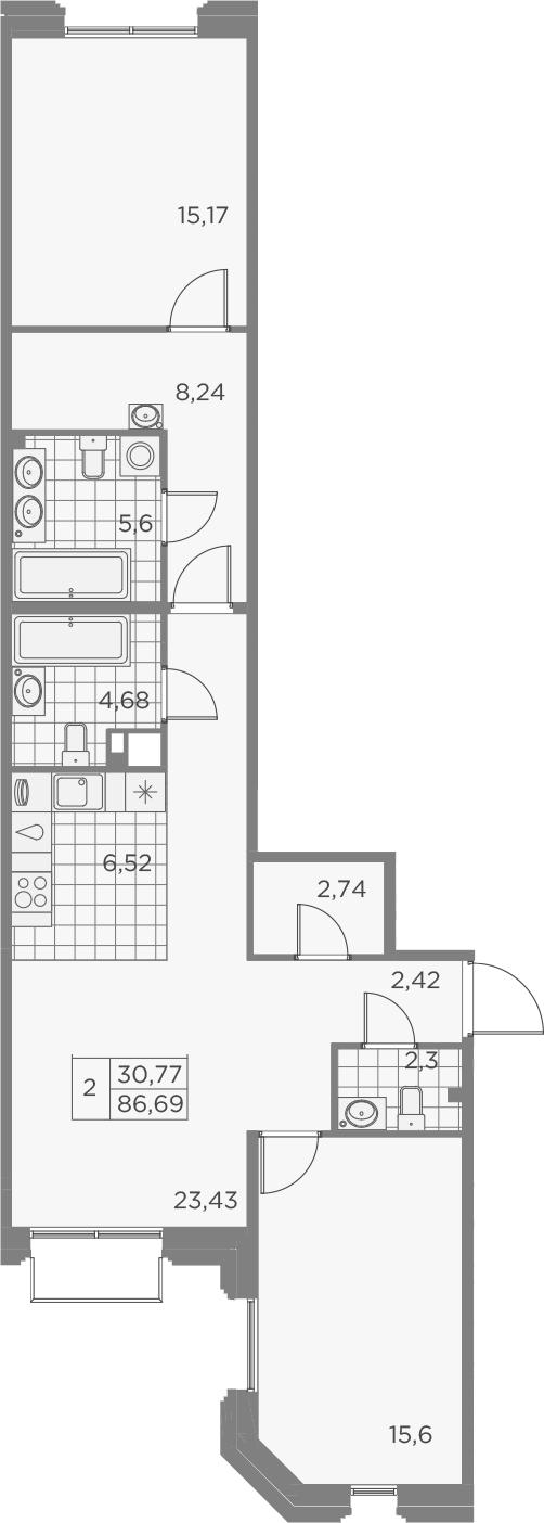 3Е-к.кв, 86.7 м², 6 этаж