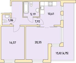 2-к.кв, 78.32 м²